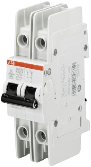 ABB SU202PR-K6 Miniature Circuit Breaker, 2 pole, 6 A, 480Y/277 VAC, K Curve, UL 489, Ring Terminal
