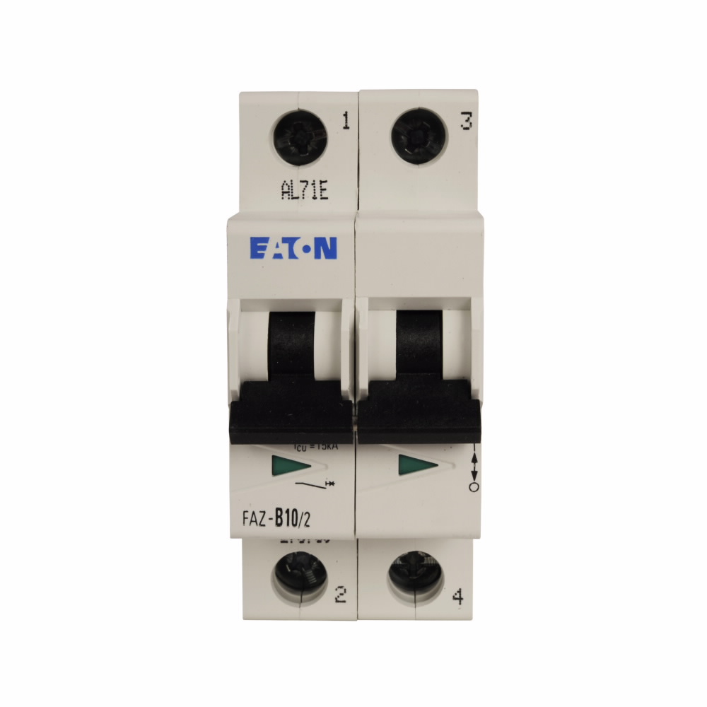 Eaton Corp FAZ-C2/2-DC Eaton FAZ supplementary protector,UL 489 Industrial miniature circuit breaker - supplementary protector,Medium levels of inrush current are expected,2 A,10 kAIC,Two-pole,125 Vdc per pole,5-10X /n,50-60 Hz,Standard terminals,C Curve