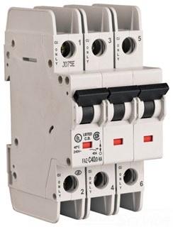 Eaton Corp FAZ-B3/3-NA-L Miniature circuir breaker, 3 pole, 3 A, B trip curve, 240 VAC, screw terminals, UL489